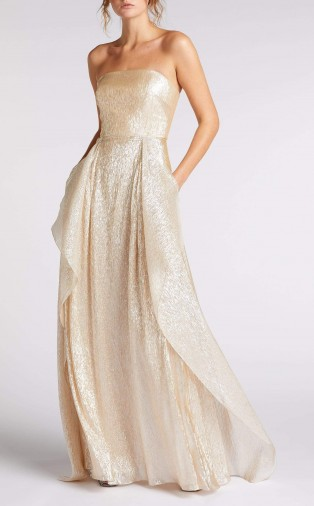 ROLAND MOURET GILO GOWN in CHAMPAGNE ~ shimmering luxury strapless gowns