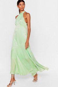 NASTY GAL x Josefine H.J Glow With It Satin Maxi Dress in Mint