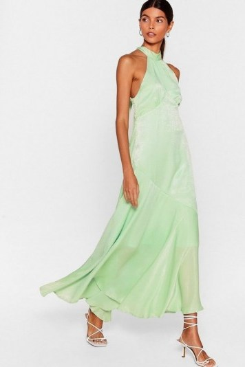 NASTY GAL x Josefine H.J Glow With It Satin Maxi Dress in Mint - flipped