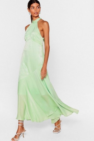 NASTY GAL x Josefine H.J Glow With It Satin Maxi Dress in Mint