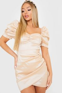 IN THE STYLE GOLD SATIN MILKMAID WRAP FRONT DRESS / ruched mini
