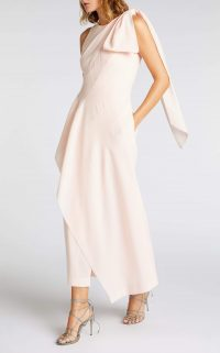 ROLAND MOURET GOLDCREST DRESS in PETAL PINK ~ fluid event wear