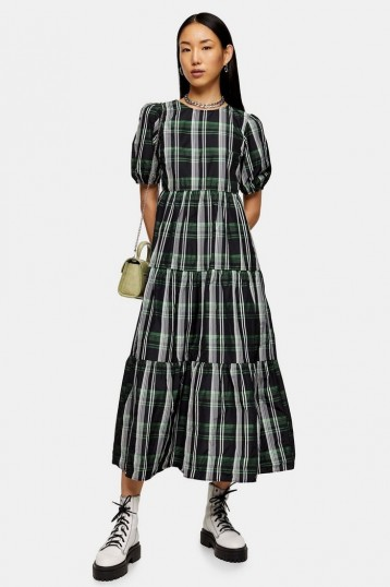 TOPSHOP Green Check Taffeta Maxi Dress / tiered pudd sleeve dresses