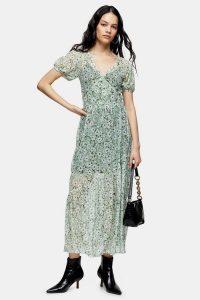 Topshop Green Daisy Mesh Wrap Midi Dress