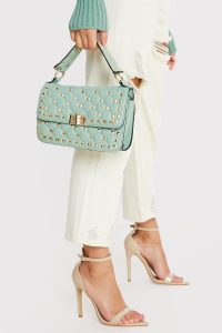 IN THE STYLE GREEN GOLD STUDDED HANDBAG – top handle flap bag
