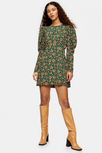 TOPSHOP Green Paisley Volume Mini Dress / puffed sleeve fashon - flipped