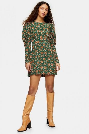 TOPSHOP Green Paisley Volume Mini Dress / puffed sleeve fashon