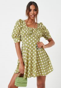 MISSGUIDED green polka dot ruched bust skater dress