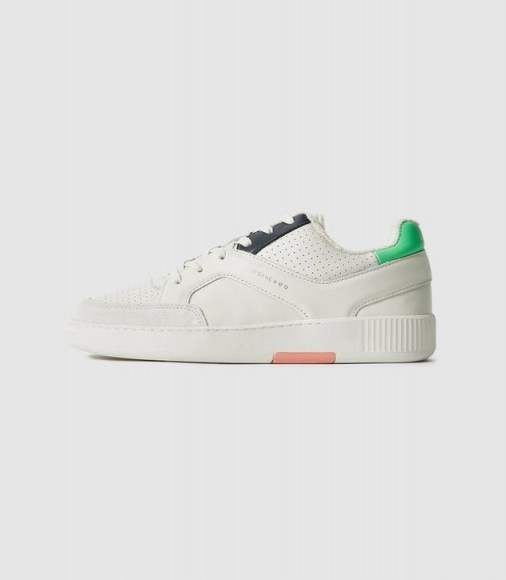 REISS GRENDON LEATHER TRAINERS WITH PERFORATED DETAILING MULTI - flipped