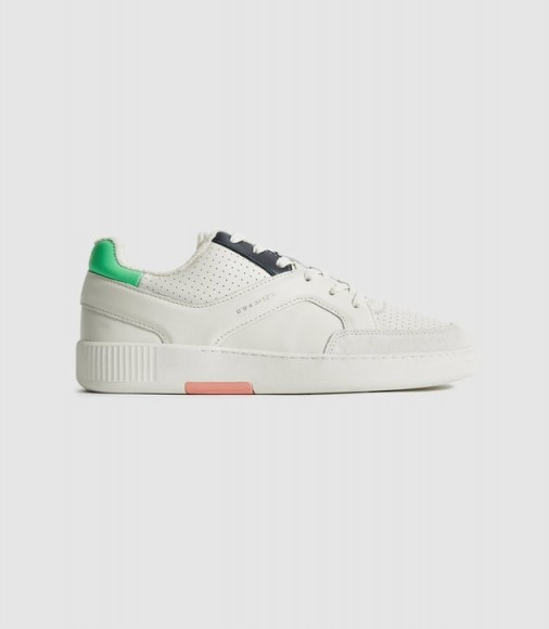 REISS GRENDON LEATHER TRAINERS WITH PERFORATED DETAILING MULTI