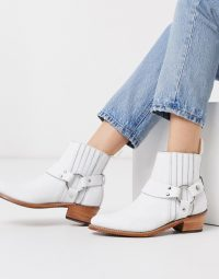 Grenson Marley white leather western mid heeled boots