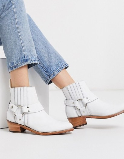 Grenson Marley white leather western mid heeled boots - flipped