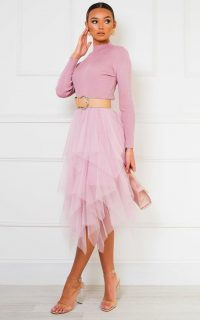 IKRUSH Greta Tulle Dress in Pink