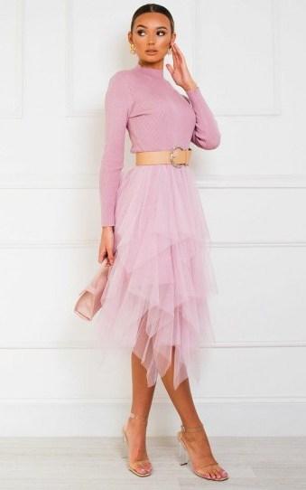 IKRUSH Greta Tulle Dress in Pink - flipped