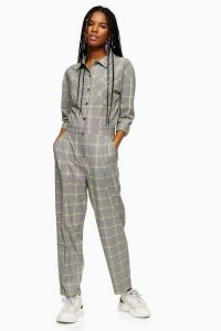 TOPSHOP Grey Check Boiler Suit – checked boilersuit