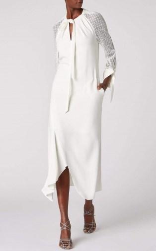 ROLAND MOURET GUNNISON DRESS in WHITE ~ chic event wear - flipped