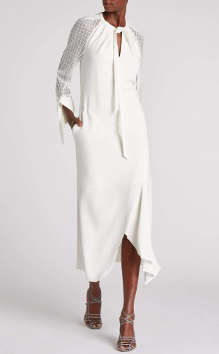 ROLAND MOURET GUNNISON DRESS in WHITE ~ chic event wear