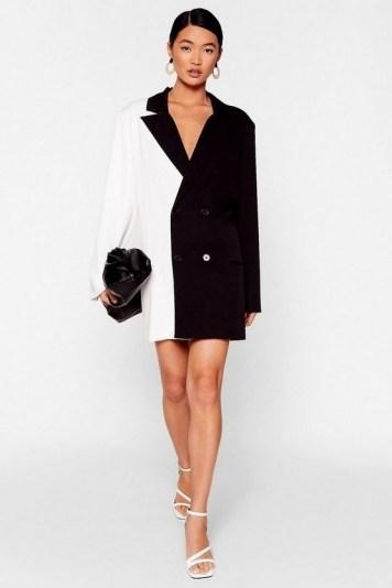 NASTY GAL Half and Half Two-Tone Blazer Dress in Black – monochrome jacket dresses - flipped