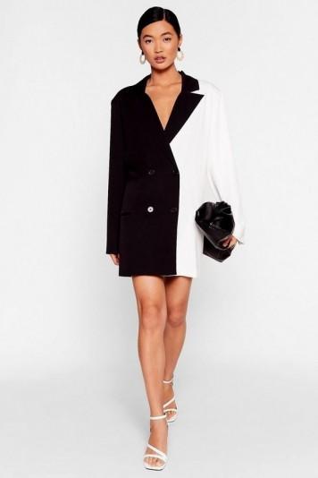 NASTY GAL Half and Half Two-Tone Blazer Dress in Black – monochrome jacket dresses