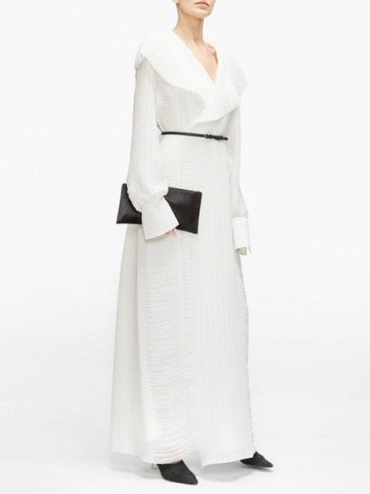 THE ROW Hania belted hammered-georgette maxi wrap dress in ivory - flipped