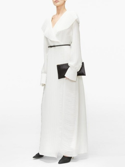 THE ROW Hania belted hammered-georgette maxi wrap dress in ivory