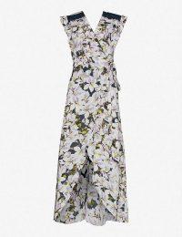 HAPPY X NATURE Floral-print ruffle-trimmed crepe wrap maxi dress in Azalea