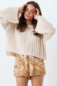 SPELL and the GYPSY COLLECTIVE HEATHER KNIT JUMPER Cream