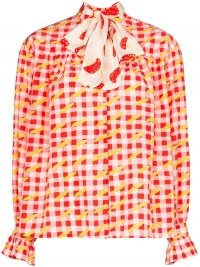 HELMSTEDT checked pussy-bow blouse / fruit print blouses