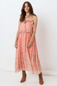 SPELL & THE GYPSY COLLECTIVE HENDRIX STRAPPY MAXI DRESS Dusty Pink / ruffle trim dresses