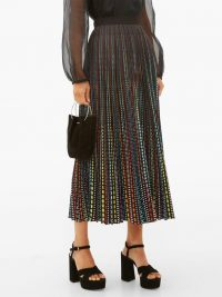 MARY KATRANTZOU High-waisted printed crepe midi skirt – pleated skirts