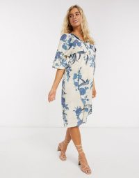 Hope & Ivy Maternity kimono midi dress in floral
