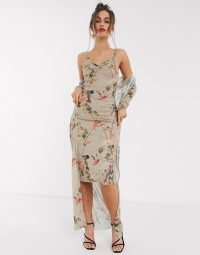 Hope & Ivy 90s slip dress and duster jacket set