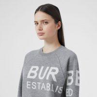 Burberry Horseferry Merino Wool Blend Jacquard Sweater Grey Melange | designer crew neck