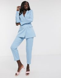 In The Style x Laura Jade tailored double breast blazer co ord in blue – fashion sets for spring
