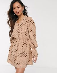 In The Style x Stephsa exclusive frilly button through skater dress in tan polka print