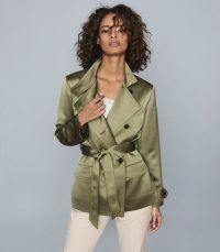 REISS INDIA SATIN JACKET KHAKI ~ luxe green jackets