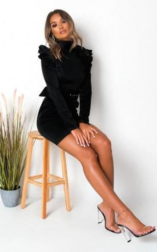 Ikrush Indie Belted Puff Sleeve Mini Dress in Black – lbd - flipped