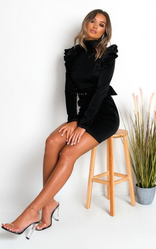 Ikrush Indie Belted Puff Sleeve Mini Dress in Black – lbd