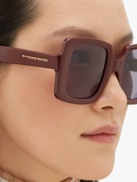 KAREN WALKER EYEWEAR Isadore oversized square acetate sunglasses in burgundy – large thick-rimmed sunnies