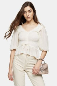 Topshop Ivory Shirred Dobby Prairie Blouse | ruffle trim blouses