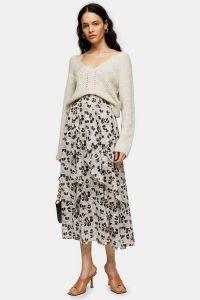 Topshop Ivory Tulip Print Ruffle Midi Skirt