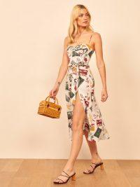 REFORMATION Jada Dress in Vacaciones – printed skinny strap summer dresses