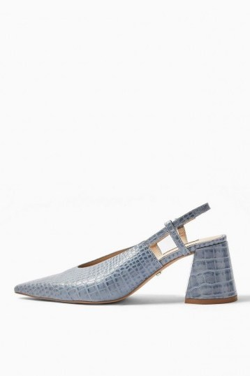 TOPSHOP JAM Blue Slingback Heels / flared chunky heels - flipped