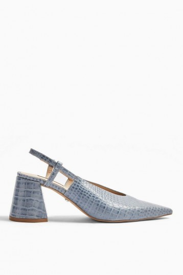 TOPSHOP JAM Blue Slingback Heels / flared chunky heels