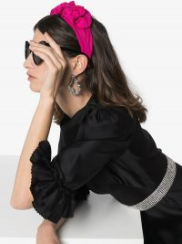 JENNIFER BEHR Rosette silk headband in hot-pink | bright coloured headbands