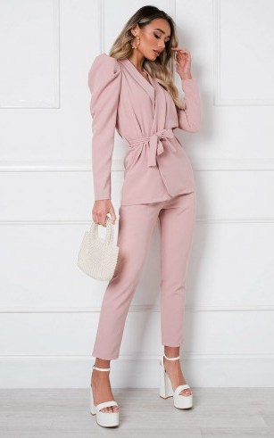 Ikrush Jess Tailored Suit Co-ord in Pink – perfect pant suits - flipped