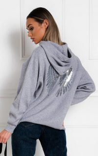 IKRUSH Jessie Oversized Wing Embellished Jumper in Grey