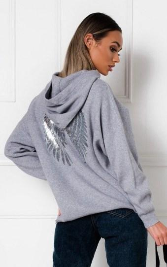 IKRUSH Jessie Oversized Wing Embellished Jumper in Grey - flipped