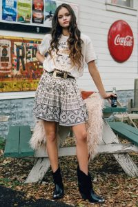 SPELL and the GYPSY COLLECTIVE JOURNEY MINI SKIRT in Ash | floral and paisley prints