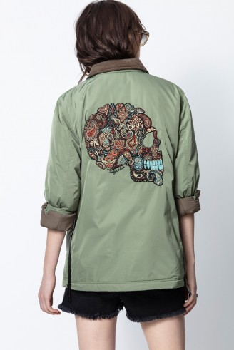 Zadig & Voltaire KARTY NYLON JACKET – green embroidered jackets